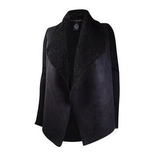 Grace Elements Women's Faux-Fur Suede Knit Open Cardigan