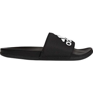 adidas Men's Adilette Cloudfoam Plus Logo Slide Black/Black/White