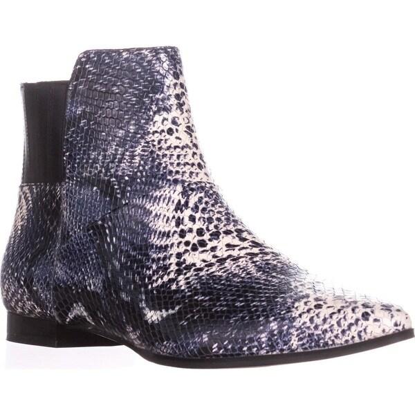 Calvin Klein Eunice Flat Ankle Boots, Black/White/Black - 8.5 us / 38.5 eu