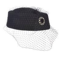 Scala Classico Women's Black Pillbox Church Hat with Netting, Black