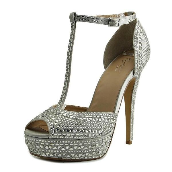Thalia Sodi Flor Women Open Toe Canvas Silver Platform Sandal