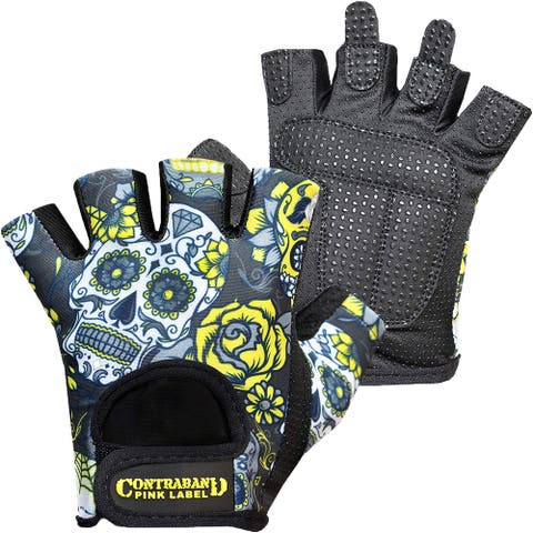 Contraband Sports 5237 Pink Label Sugar Skull Weight Lifting Gloves - Yellow