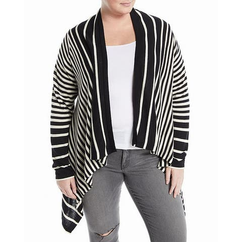 NYDJ Black Womens Size 3X Plus Striped Cascade Cardigan Sweater