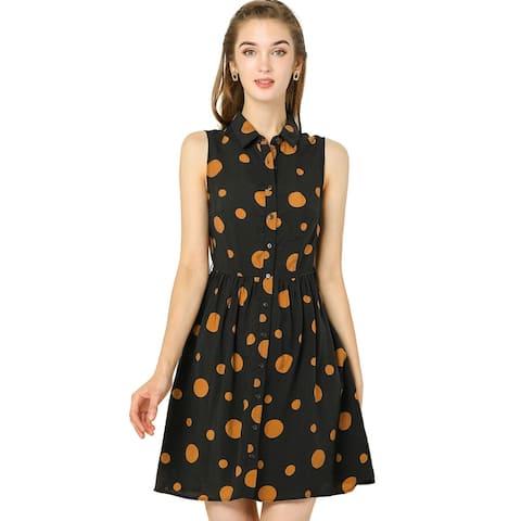 Women's Polka Dot Button Down Tie Waist Sleeveless Shirt Dress