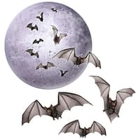 Club Pack of 48 Halloween Moon and Bat 2 Sided Design Cutout Decorations - Orange