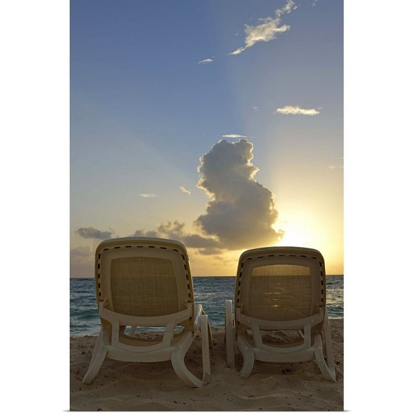 """""""Sunloungers on a tropical beach at sunrise"""" Poster Print"""