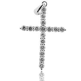 1.00ctw Diamond Cross 14k White Gold 1.3 inch Round Diamonds(i2/i3, I/j)