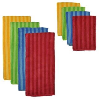 Pack of 8 Solid Primary Striped Dish Towel and Wash Cloth Kitchen Accessory Set - Microfiber