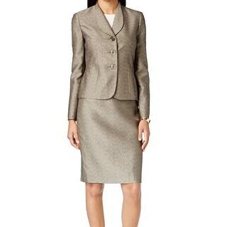 Le Suit NEW Gold Titanium Women's Size 10 Jacquard Skirt Suit Set