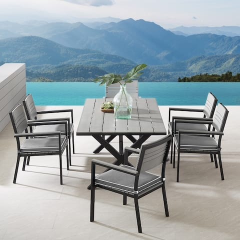 Corvus Orville 7-piece Aluminum Outdoor Dining Set with Wood Table Top