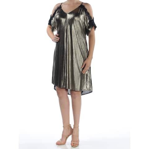 RACHEL ROY Womens Gold Cold Shoulder Short Sleeve Scoop Neck Knee Length Shift Cocktail Dress Size: M
