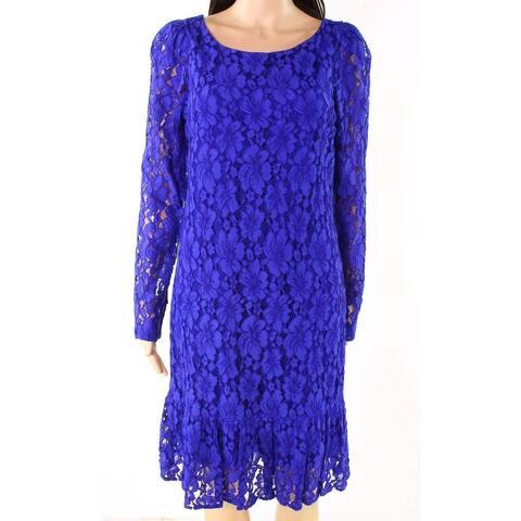 Calvin Klein Blue Womens Size 6P Petite Floral-Lace Sheath Dress