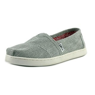 Toms Classic Youth Round Toe Canvas Silver Loafer