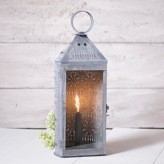 Irvin's Country Tinware Tall Harbor Lantern in Weathered Zinc