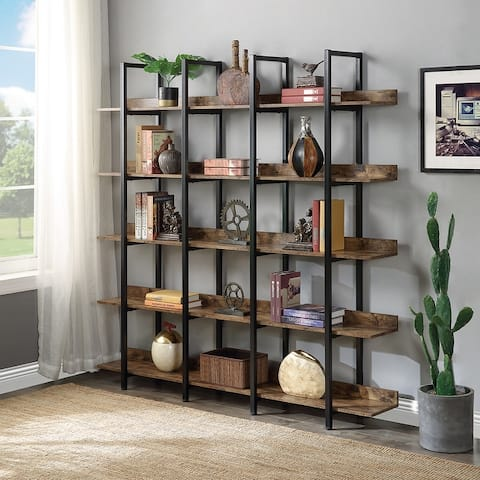 TiramisuBest Industrial Home Office Rustic 5-Tiers Open Bookcase