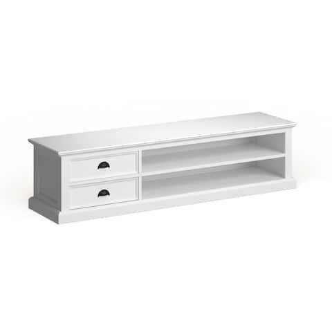 The Gray Barn Ora Mahogany Large White TV Table - 70,87 x 17,72 x 17,72