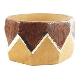 Helene Jewelry Large Faceted Wood Bangle