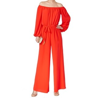 Vince Camuto NEW Red Women's Size 4 Off-Shoulder Belted Jumpsuit