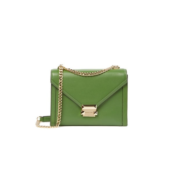 MICHAEL Michael Kors Whitney Polished Leather Shoulder Bag True Green Gold  - One Size ffc159a7f7f