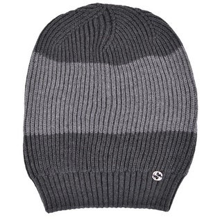 Gucci Men's 310777 Grey Wool Colorblock Interlocking GG Slouchy Beanie Hat