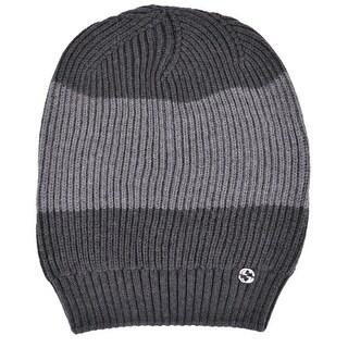 Gucci Men's 310777 Grey Wool Colorblock Interlocking GG Slouchy Beanie Hat