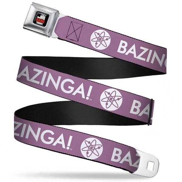 The Big Bang Theory Full Color Black White Red Bazinga! Atom Logo Lavender Seatbelt Belt