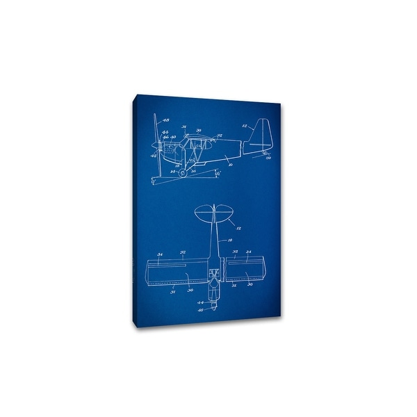 Plane - Gearhead Blueprints - 36x24 Gallery Wrapped Canvas Wall Art