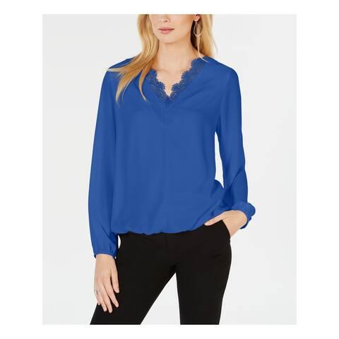 ALFANI Womens Blue V Neck Top Size XL