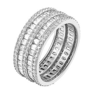 Womens Wedding Eternity Ring 2 Row Baguette Cubic Zirconia Bridal Engagement