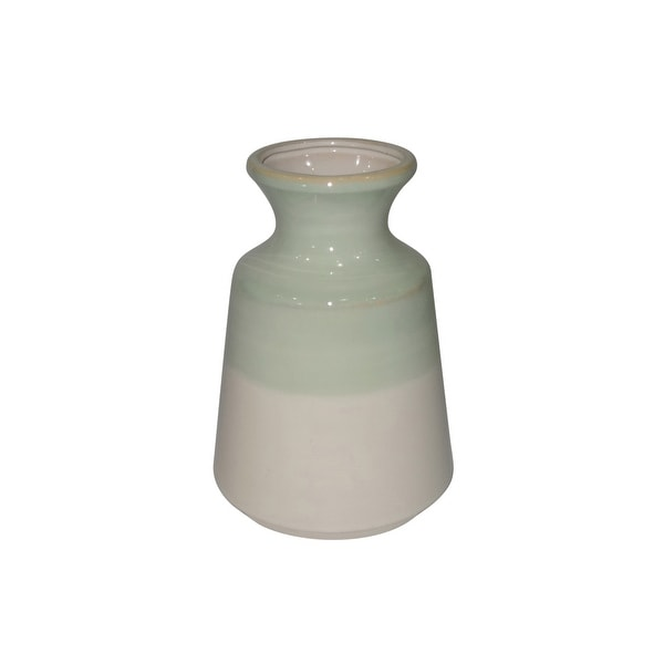 Dual Tone Decorative Ceramic Vase with Flared Neck, Green and White