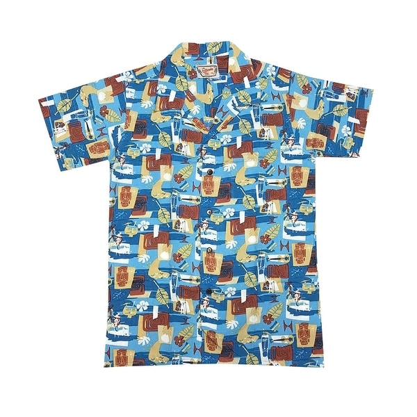 ecd367180 Shop Santiki Men's Tiki Mask Camp Shirt -Blue Retro Hawaiian Mid-Century  Modern Print - Free Shipping On Orders Over $45 - Overstock - 23050831
