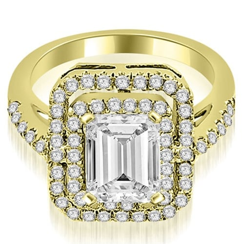 1.17 cttw. 14K Yellow Gold Double Halo Emerald Cut Diamond Engagement Ring