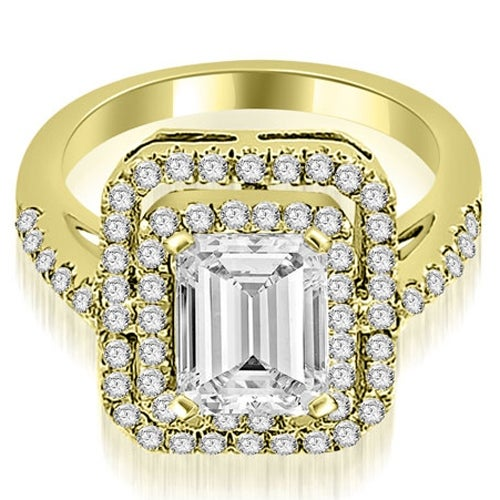 1.42 cttw. 14K Yellow Gold Double Halo Emerald Cut Diamond Engagement Ring