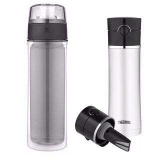 Thermos 18oz Double Wall Water Bottle and 16oz Drink Bottle w/ Tea Infuser
