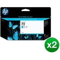 HP 72 130-ml Cyan DesignJet Ink Cartridge (C9371A) (2-Pack)