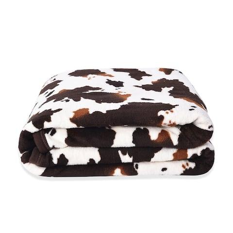 "Homesmart Brown Cow Print Warm & Cozy Coral Fleece Blanket 58x86 - 58x86"""