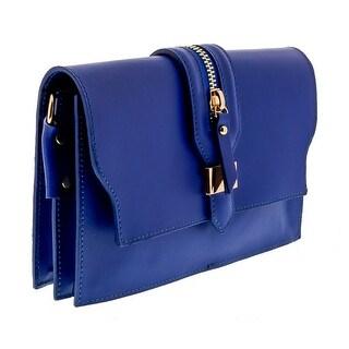 HS1168 BLU CLO Blue Leather Clutch/Shoulder Bag - 8.5-6.5-2.5