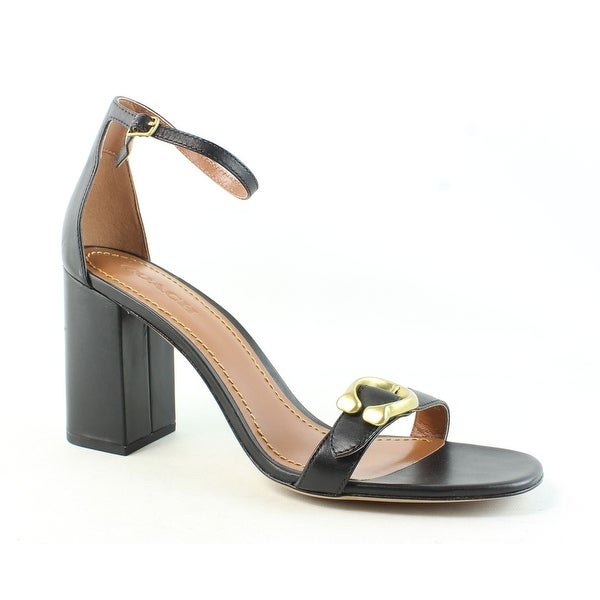 Coach Womens Maya Leather Shop Black Size 11 Heels Strap Ankle WIYED9H2