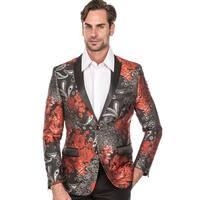 Men's Dress Suit Jacket  Floral Luxury  Jacquard Blazer Formal Dress Prom - Red/black