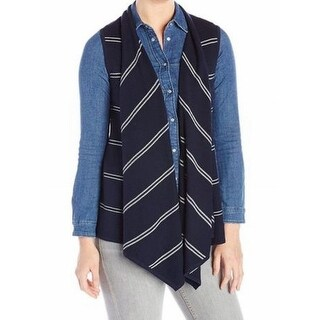 Tommy Hilfiger NEW Blue Womens Size XL Draped Striped Open-Front Vest