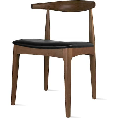 Solid Real Wood PU Leather Cushion Elbow Dining Chair