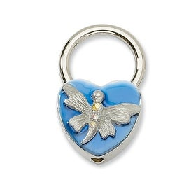 Silvertone Dragonfly w/Crystals Blue Enamel Key Fob