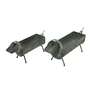 Distressed Dachshund Dog Set of 2 Decorative Metal Planters - 10.25 X 24 X 6.5 inches