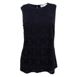 Kasper Women's Plus Size Burnout-Knit Scoop-Neck Shell Top - Black