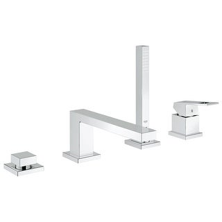 Grohe 19 897 1  Eurocube Deck Mounted Roman Tub Filler with Handle and Built-In Diverter - Starlight Chrome