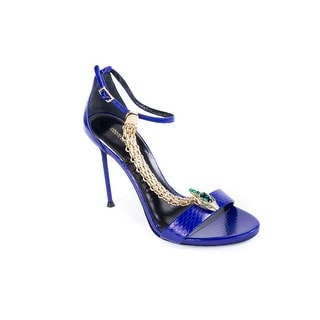 New~Roberto Cavalli Women's Blue Leather Snake Chain High Heel Sandals