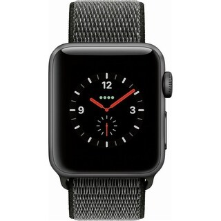 Apple - Apple Watch Series 3 (GPS + Cellular), 38mm Space Gray Aluminum Case with Dark Olive Sport Loop - Space Gray Aluminum
