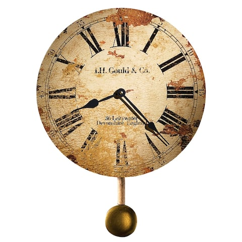 Howard Miller J. H. Gould & Co. Antique, Vintage, Old World, & Industrial Style Distressed Wall Clock with Pendulum