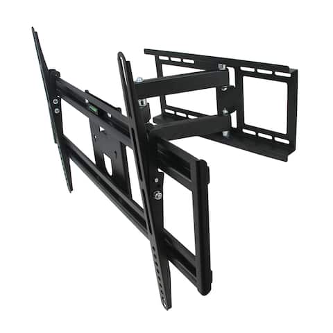 MegaMounts Full Motion Television Wall Mount with Bubble Level for 32-70 Inch Displays - Black