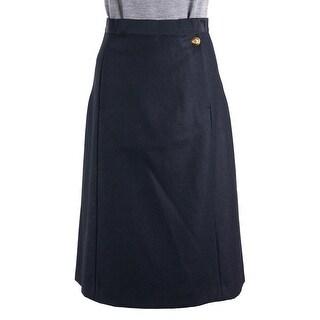 Maison Margiela Black Wool Military Button Knee Length Skirt